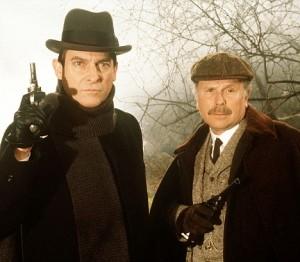 Jeremy Brett som Holmes och Edward Hardwicke som Dr Watson